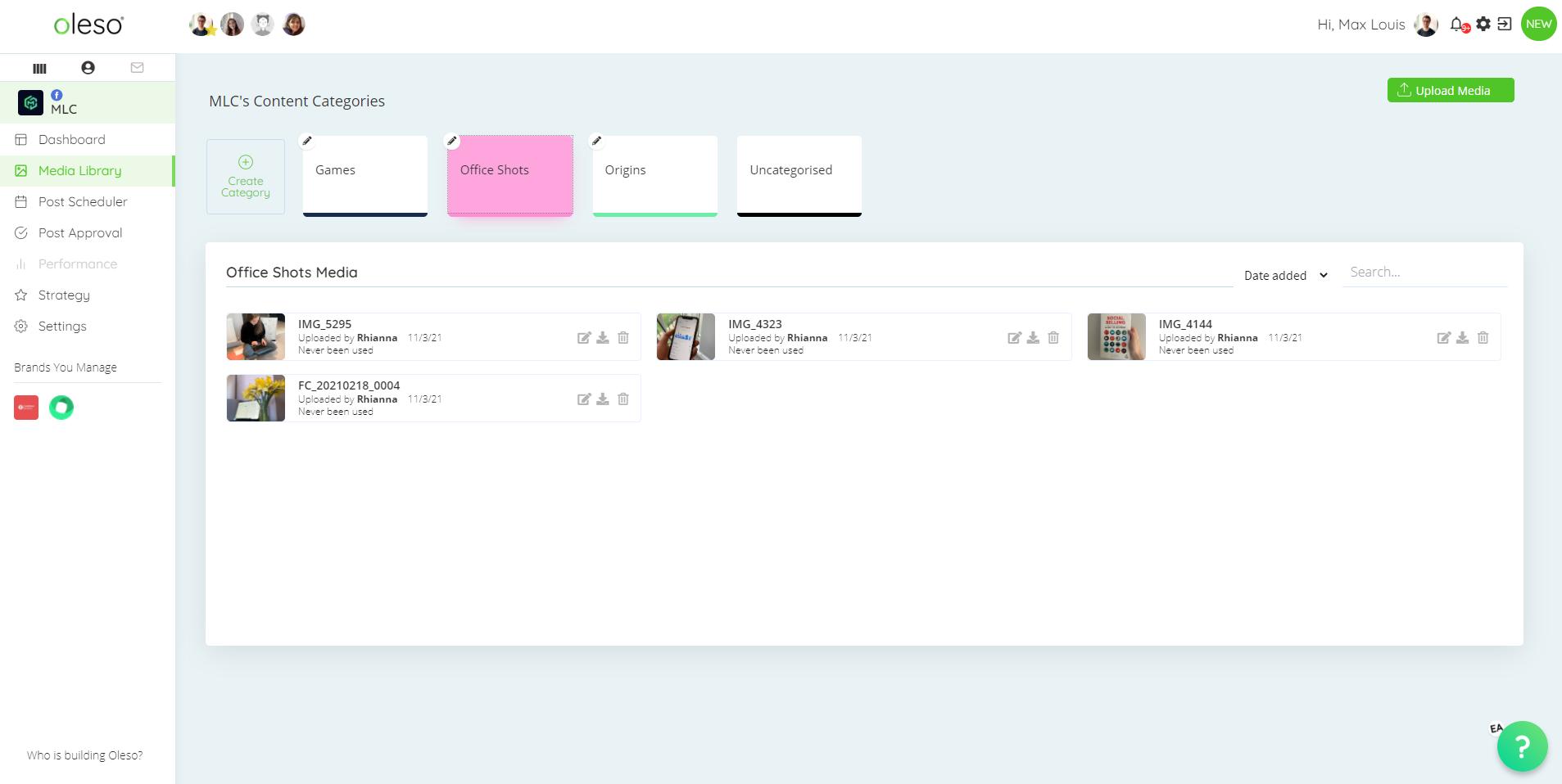 Oleso Social Media Tool - Media Library