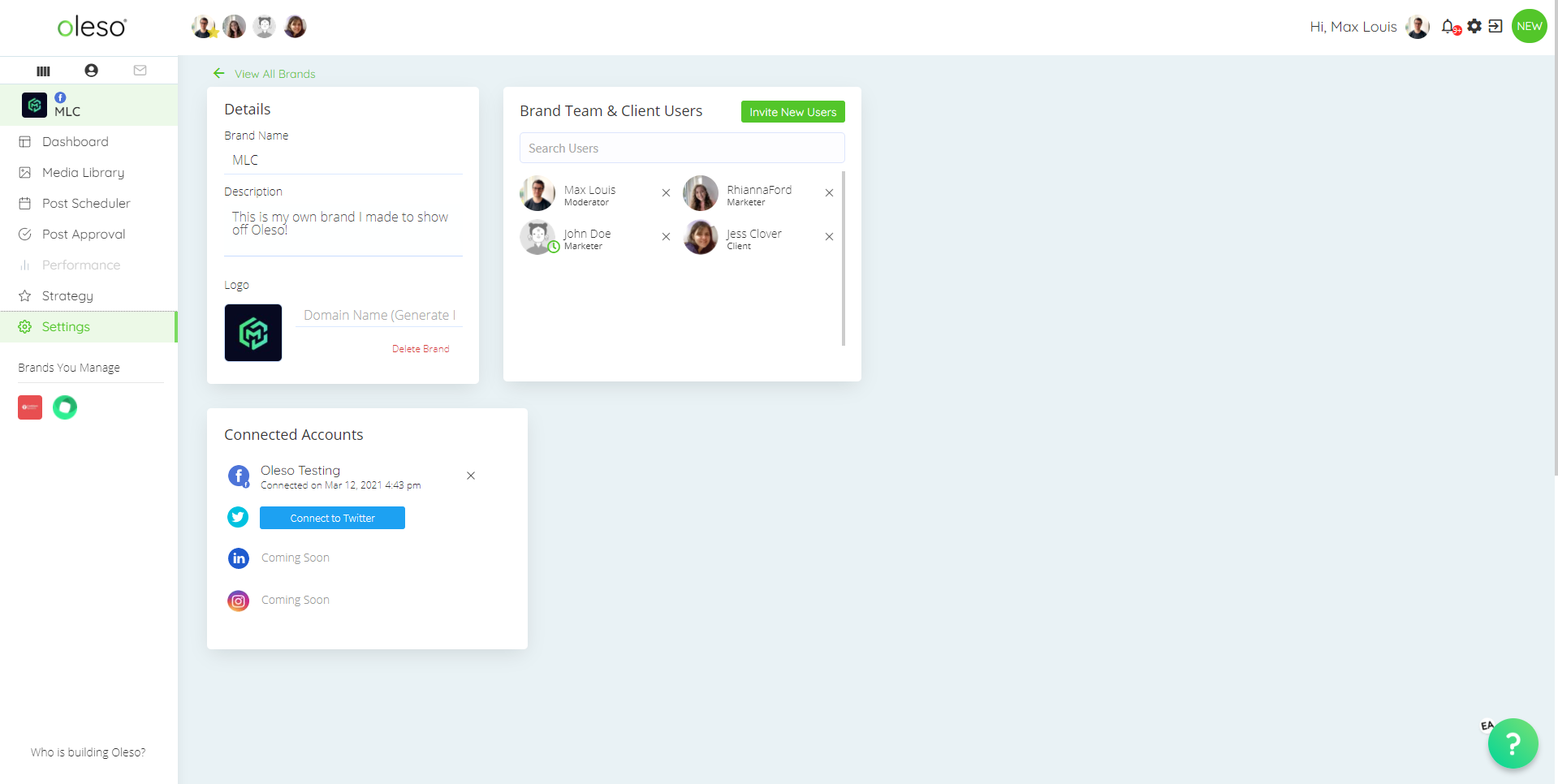Oleso Social Media Tool - Settings